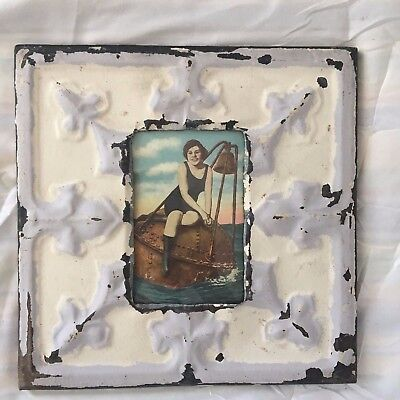 Vintage 1890's Antique Ceiling Tin Picture Frame 4 x 6 Anniversary Cream 486-17