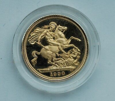 Sovereign 1990 Gold Proof with original Royal Mint Box and COAs