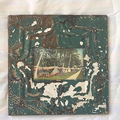 Vintage 1890's Antique Ceiling Tin Picture Frame 4 x 6 Anniversary Green 484-17