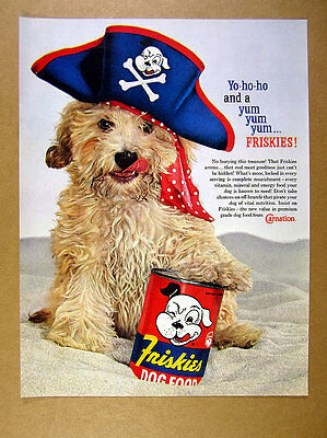1960 cute mutt dog in pirate hat photo Friskies dog food vintage print Ad