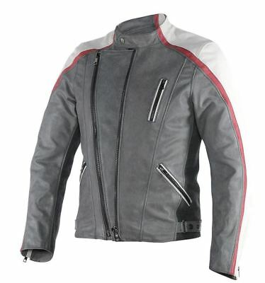 Dainese Ming Mens Leather Motorcycle Jacket Gray/White/Burgundy
