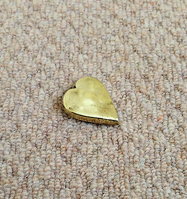 "A 2"" TALL x 1.5"" WIDE, VINTAGE HEART-SHAPED BRASS BADGE c/w 3 BACK CLIPS/PINS"