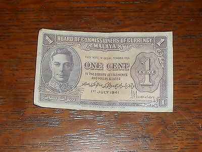 MALAYA - Board of Commissioners of Currency - One Cent Banknote - Ist July 1941.