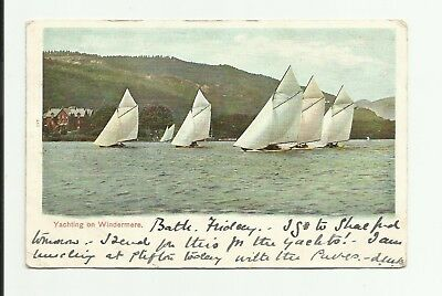 Yachting on Windermere. 1903. Yachts, Sailing. Undivided back postcard.