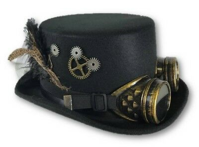 Black Steampunk Victorian Top Hat Adult Feathers Gears Goggles Costume Accessory
