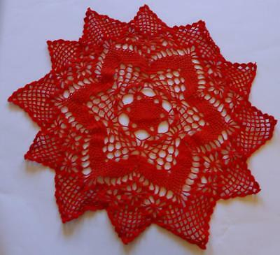 Swedish Xmas: Large hand-crocheted Christmas red round doily with pointy edge