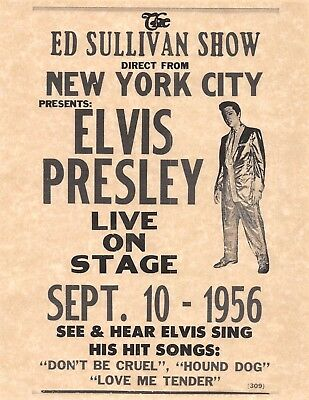 The Ed Sullivan Show Presents Elvis Presley Sept 10 1956 > Poster/Print Replica