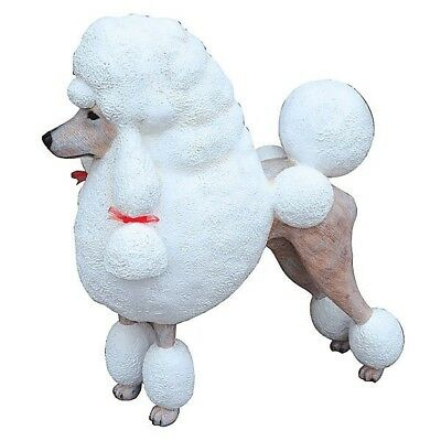 Dog French Poodle White Resin Statue with Bow Decor Prop