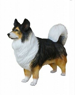 Dog Australian Shepherd Resin Standing Statue Multi Color Display Prop