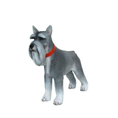 Dog Miniature Schnauzer Grey Resin Statue Standing Display Prop