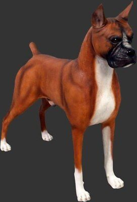Dog Boxer Brown White Standing Resin Statue Display Prop Decor