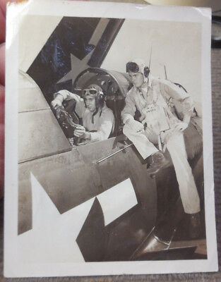 Vtg 1945 WW II USN Navy SB2C Helldiver w/ Pilots On USS Intrepid B/W Photograph