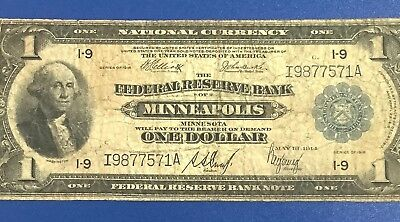 """1918 $1 Federal """"LARGE SIZE"""" Currency! Minneapolis! VG! Old US Currency!"""