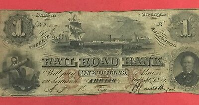 """1853 $1 US ADRIAN MICHIGAN """"LARGE SIZE"""" RAILROAD BANK! Currency!"""