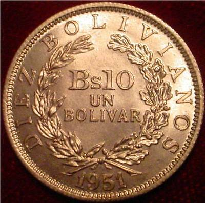 Rare**hi Grade Red Bu 1951 1 Bolivar Bolivia*beautiful Superb Detailed Coin**