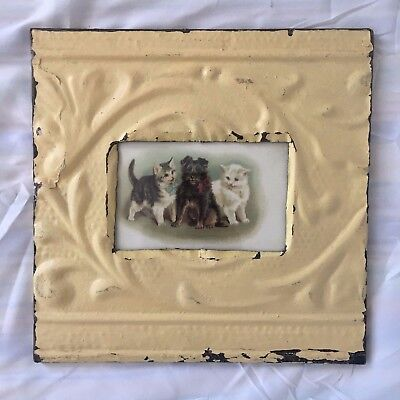"Antique 1890's Ceiling Tin Picture Frame 4"" x 6"" Reclaimed Metal Butter 487-17"