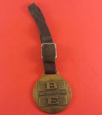 Vintage Bucyrus - Erie Fob On Leather Strap 45 mm x 40 mm