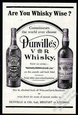 1912 Dunville's Whiskey Old Irish and Special Liqueur 2 bottl photo print ad