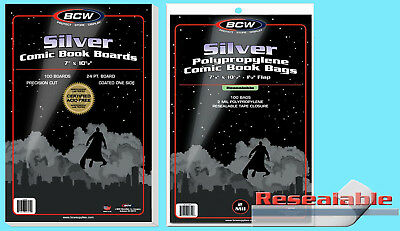 100 BCW SILVER RESEALABLE COMIC BOOK BAGS & BACKING BOARDS Clear Plastic No Acid