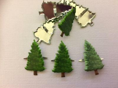 BRADS CHRISTMAS TREE FIR pk of 8 split pin craft xmas green scrapbooking