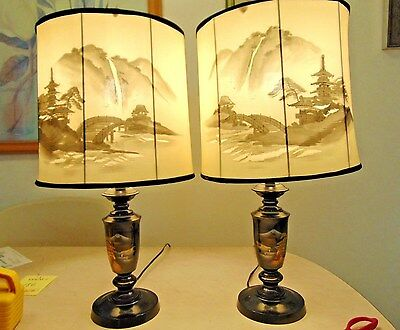 Mirror Image Japanese Lamp set.  Signed  Vintage Works Mixed Metal