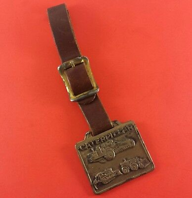 Vintage Caterpillar Fob On Leather Strap (Ohio Machinery Co.) 36 mm x 39 mm