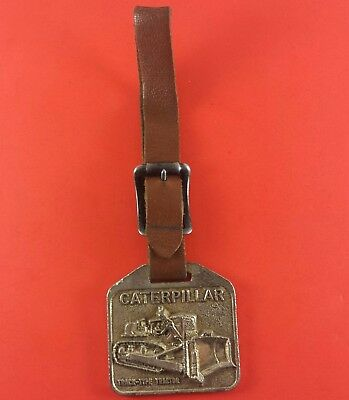 Vintage Caterpillar Fob On Leather Strap (Syracuse Supply Co.) 45 mm x 46 mm