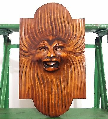 Devil Demon Hand Carved Wood Panel Antique French Architectural Salvage Carving