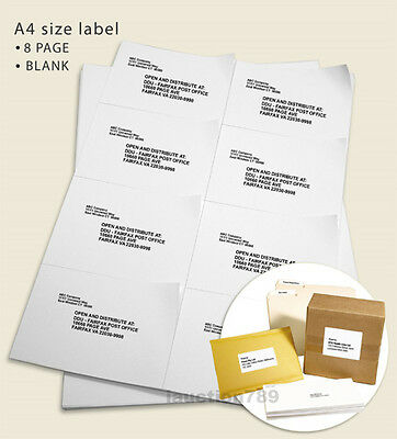 200 Sheet A4 White 8/Page Self Adhesive Sticker Mailing Address Labels 105x74mm