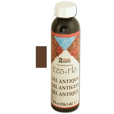 8oz Medium Brown Eco Leather Antique Gel - Flo Sheen Polish Leathercraft