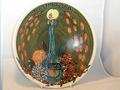 Painted Jersey Pottery Bowl 1970s? Design 24cms Commisioned For Mr J Sheldon