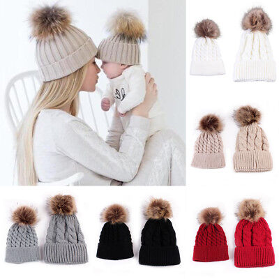 Mother And Baby Ball Knit Crochet Baggy Bobble Hat Beanie Beret Warm Ski Cap UK