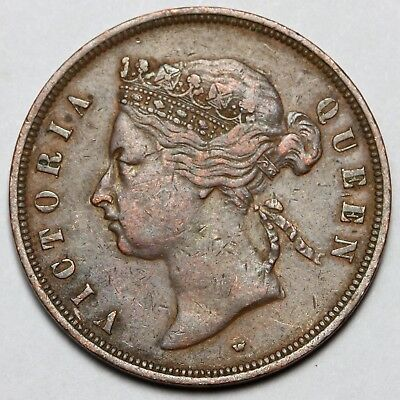 1875 Queen Victoria Straits Settlements Copper 1 One Cent Token Coin