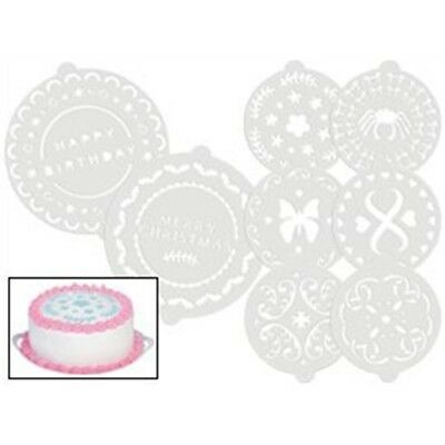 Sweetly Does It Pack Of 8 Decorative Cake Stencils - Set Kitchen Craft