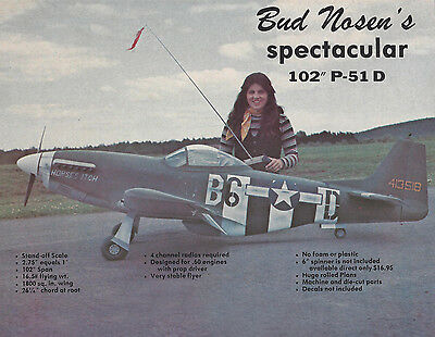 Giant Bud Nosen 1/4 Scale P-51D Mustang Plans, Templates and Instructions 102ws