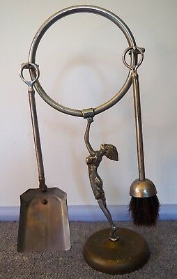 Art Deco Diana style Fire Stand with Brush and Shovel  - original - unique