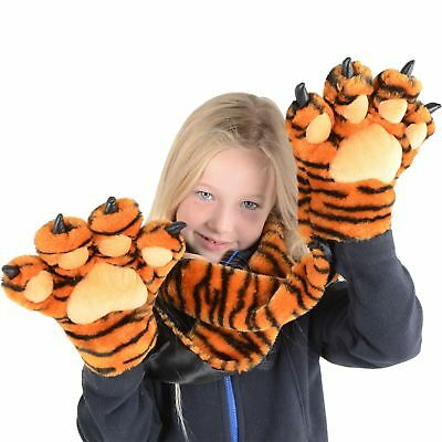 New Boys Girls Kids Childrens Tiger Scarf With Tiger Claw Hand Pockets Fab Gift