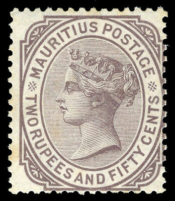 Mauritius 1879 QV 2r50c brown-purple mint cat £55 ($74). SG 100. Sc 67.