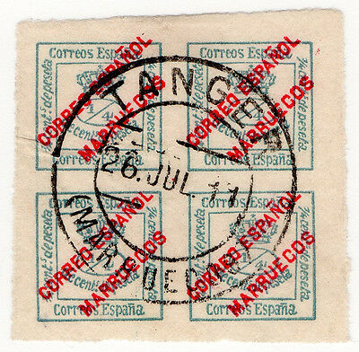 (I.B) Spain Colonial Postal : Morocco Overprint ¼c (Tangier)