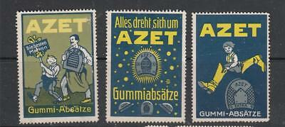 GERMAN POSTER STAMPs :  3 x Azet