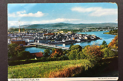 Northern Ireland Postcard ~ Derry City and River Foyle ~ Hinde