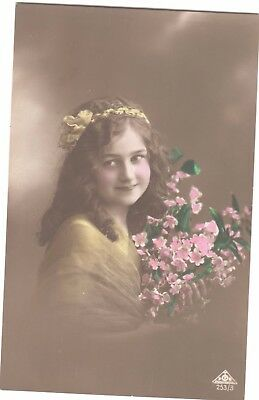 Vintage Postcard Child Little Girl Flowers Hair Colour Tinted Marcus Day Rp