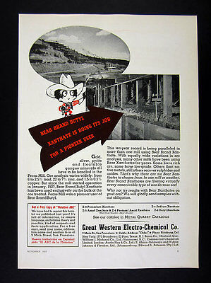 1937 Pecos Gold Silver & Pyrite Ore Mill photo Bear Brand Xanthate print Ad