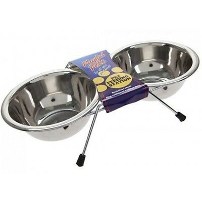 Double Bowl Pet Feeding Station - Stainless Steel Bowls Dog Cat Water Food Non