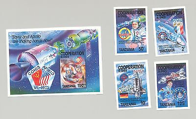 Tanzania 1989 not issued Apollo Soyuz , Space, Europa related 4v. & 1v. s/s