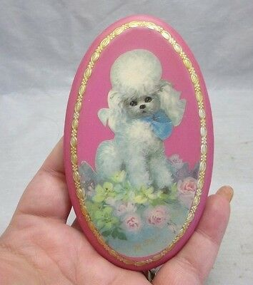 Vintage 1950's small wood plaque with decoupage poodle. Pink