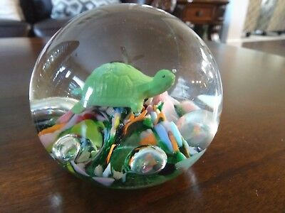1974 Maude & Bob St. Clair Art Glass TURTLE SULPHIDE Paperweight Tortoise
