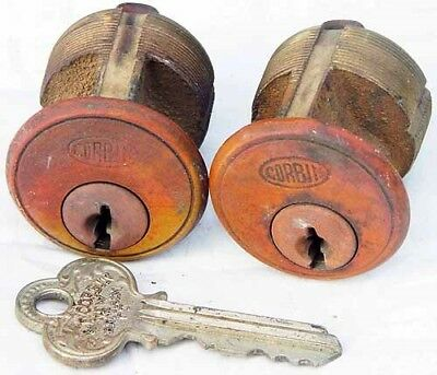 "Corbin 2 KA Antique Mortise Cylinder & 1 Original Working Keys 1 1/8"" Locksmith"