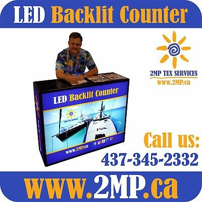 Trade Show Portable LED Table Counter Light Box + Double-Sided Fabric Graphics