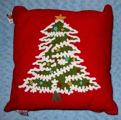 """DEVI DESIGNS Christmas Pillow FRENCH KNOT TREE 20"""" Square NWT"""